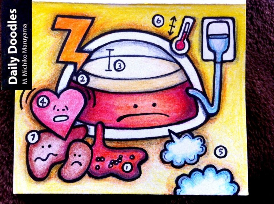 Septic Shock Medical Daily Doodle by Michiko Maruyama